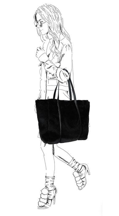 Schwarzer Shopper mit Kunstfell