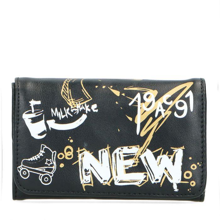 Schwarzes Portemonnaie mit Graffiti