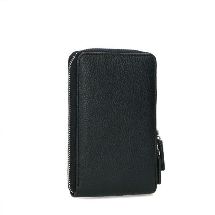 Schwarze Telefontasche aus Leder mit Krokomuster