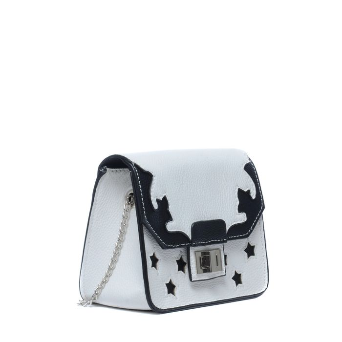 Weiße Schultertasche mit schwarzen Details