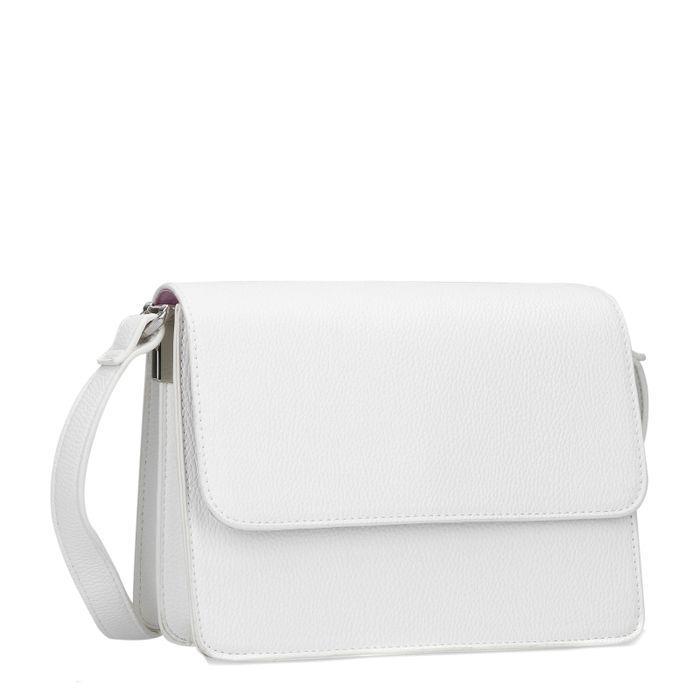 Weiße Schultertasche mit silbernen Details
