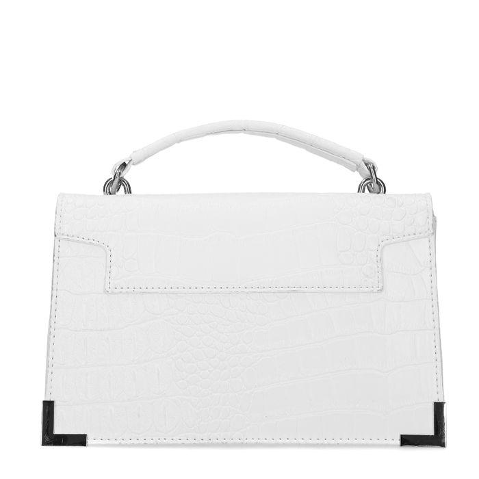 Weiße Handtasche mit Krokomuster