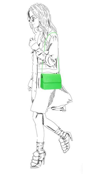 Neongrüne Schultertasche mit Schlangenmuster