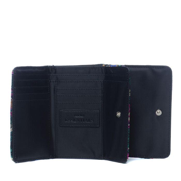 Kleines schwarzes Portemonnaie mit Blumen