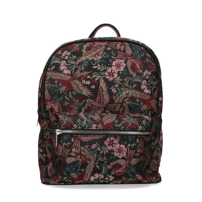 Schwarzer Rucksack mit Blumenmuster