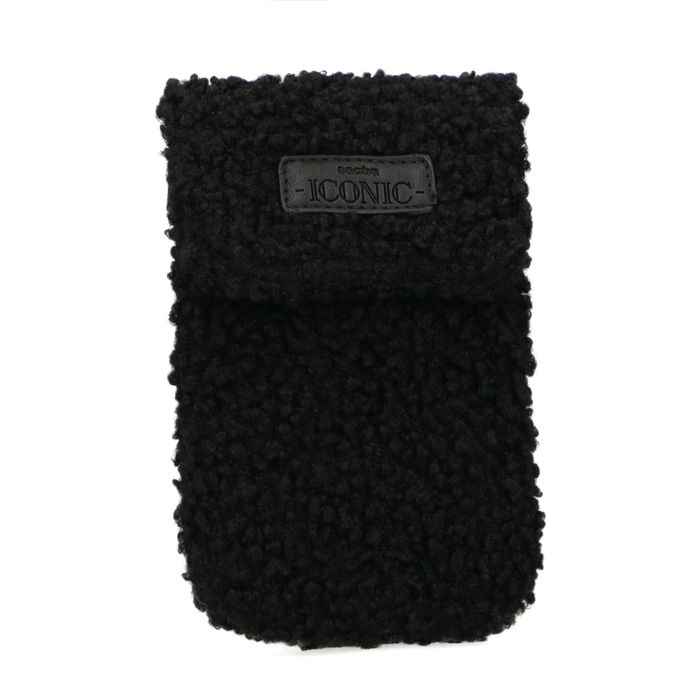 Schwarze Handytasche aus Teddyfell