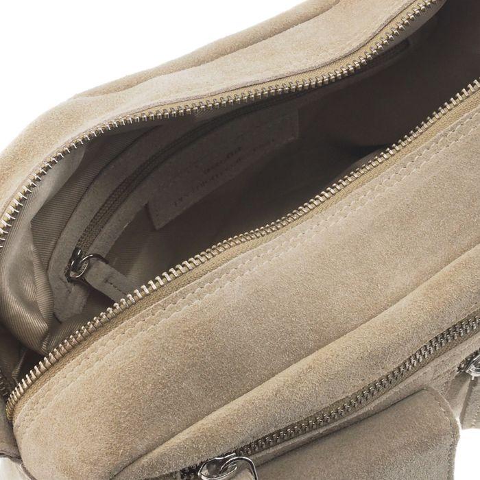 Beigefarbene Schultertasche aus Veloursleder