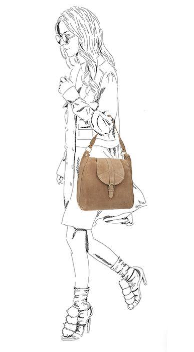 Beigefarbene Veloursleder-Handtasche mit goldenen Details