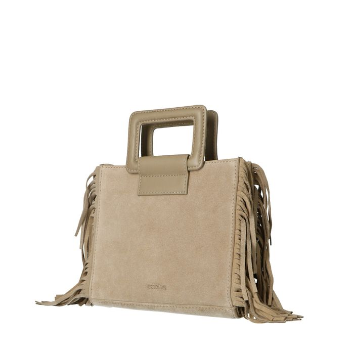 Beigefarbene Veloursleder-Handtasche mit Fransen
