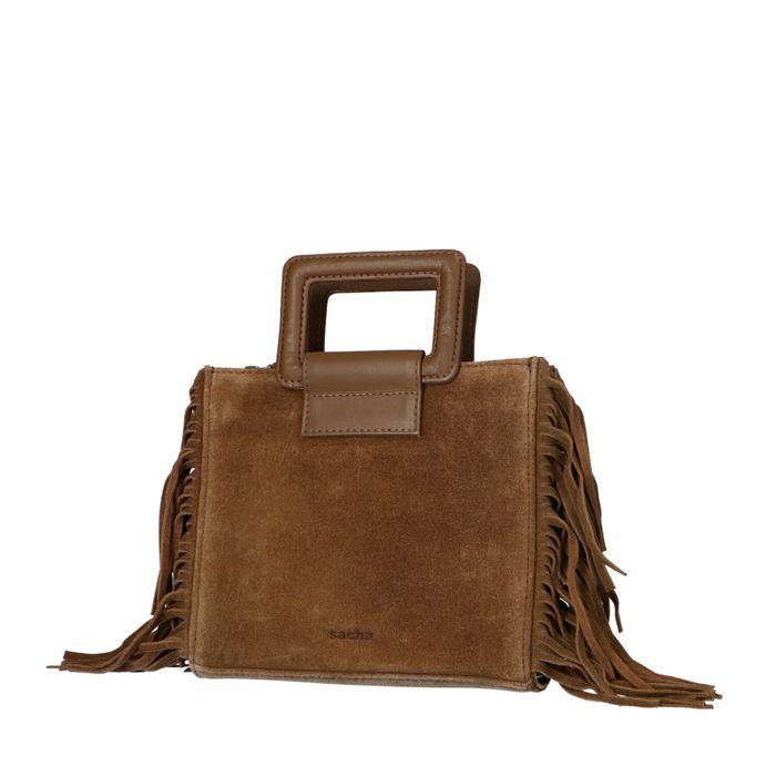 Braune Veloursleder-Handtasche mit Fransen