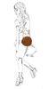 Runde cognacfarbene Tasche aus Veloursleder