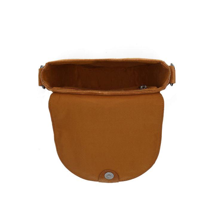 Cognacfarbene Satteltasche aus Leder