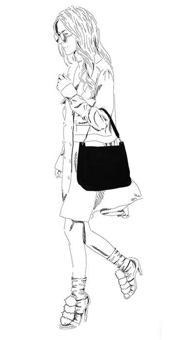 Schwarze Schultertasche aus Veloursleder
