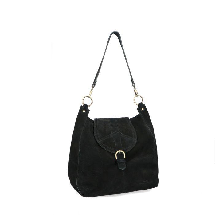 Schwarze Veloursleder-Handtasche mit goldenen Details
