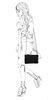 Schwarze Veloursleder-Schultertasche mit Krokomuster