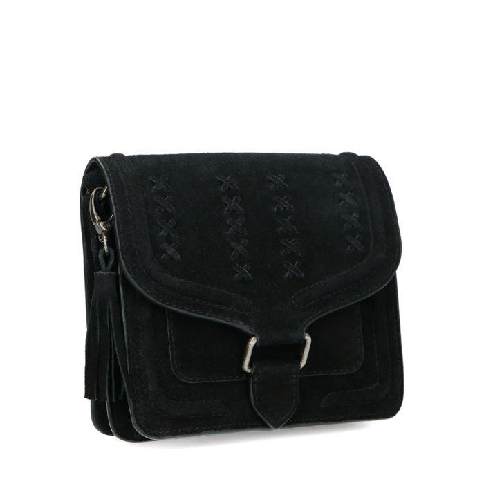 Schwarze Veloursleder-Tasche im Western-Style