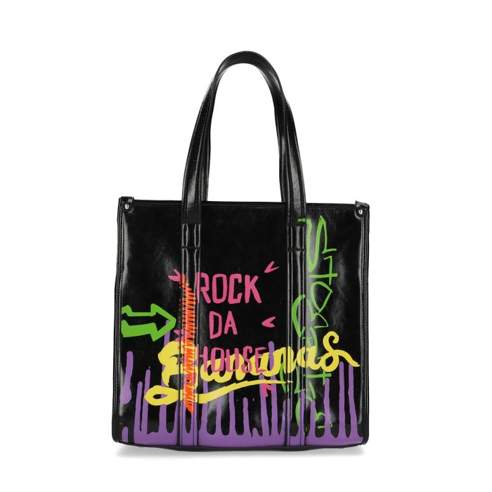 Zwarte shopper met neon graffiti
