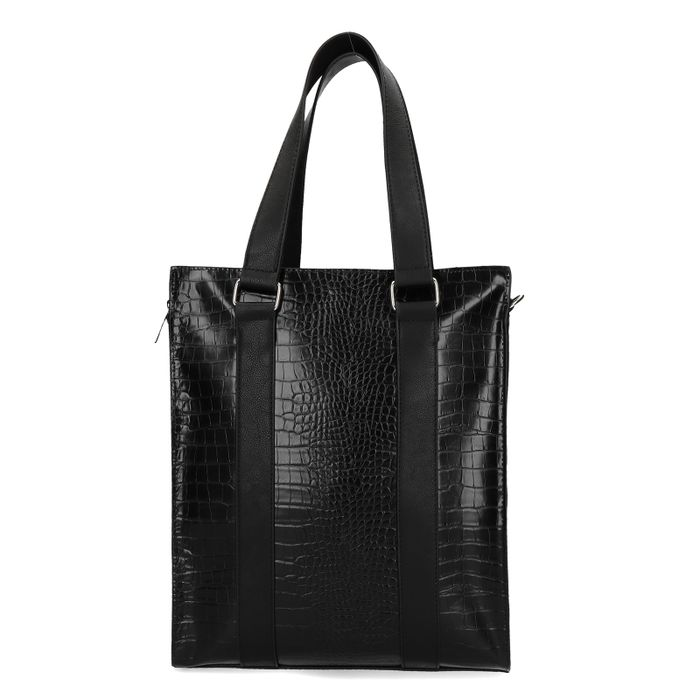 Zwarte shopper met snakeskin structuur