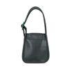 Zwarte leren schoudertas met groene gesp