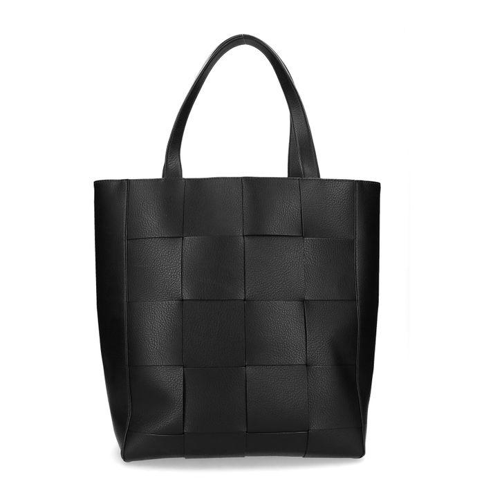 Zwarte gevlochten shopper