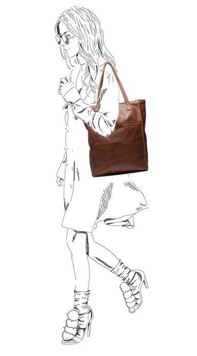 Cognac leren shopper