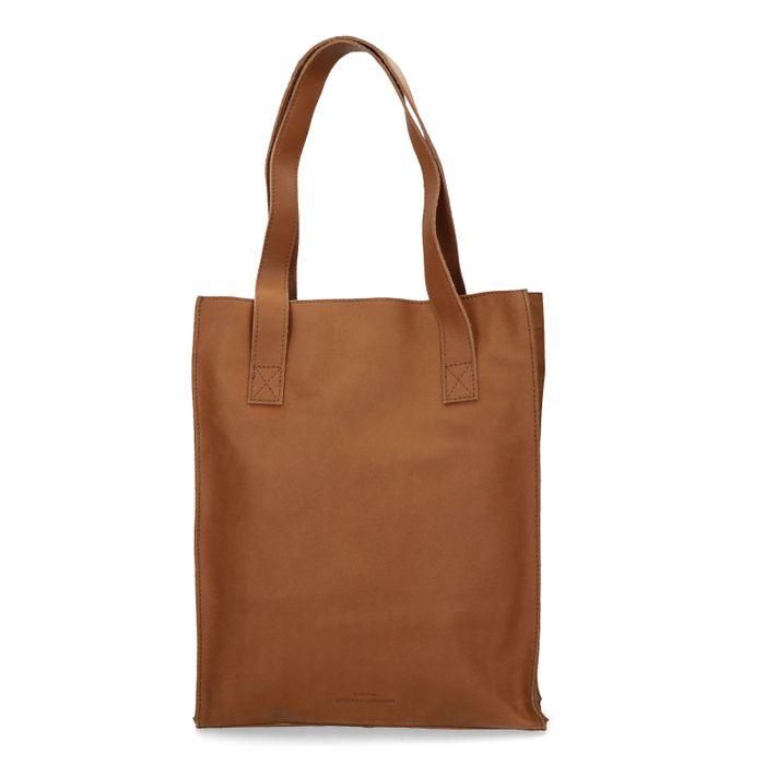Bruine leren shopper met laptop vak