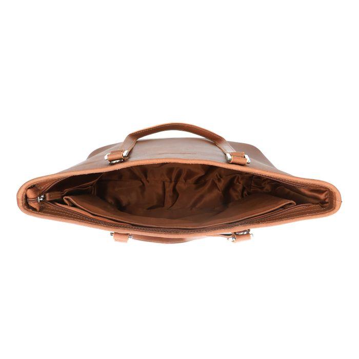 Cognac handtas met zilveren details