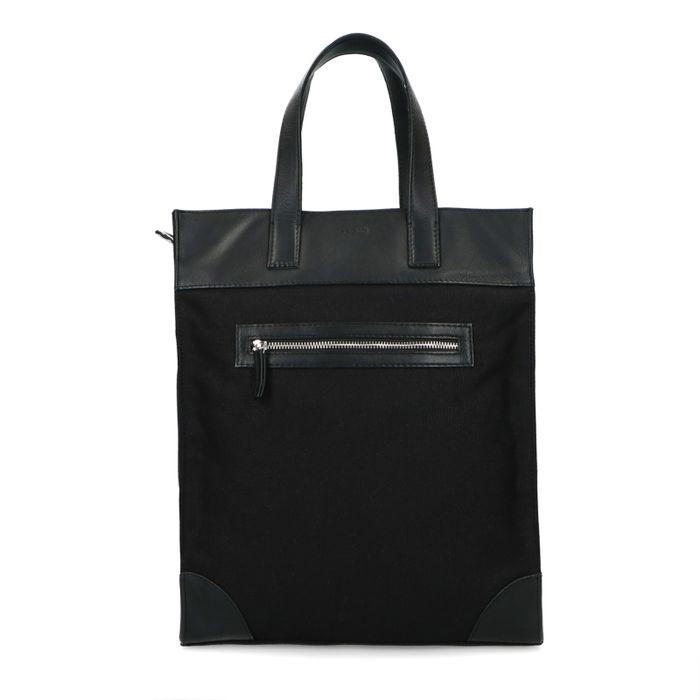 Zwarte canvas shopper met leren details