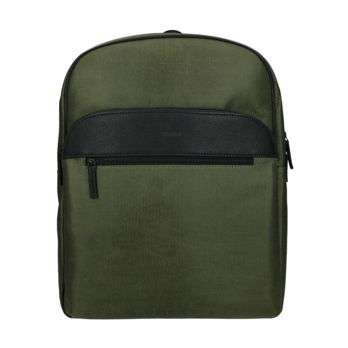 Groene leren rugzak met laptopsleeve