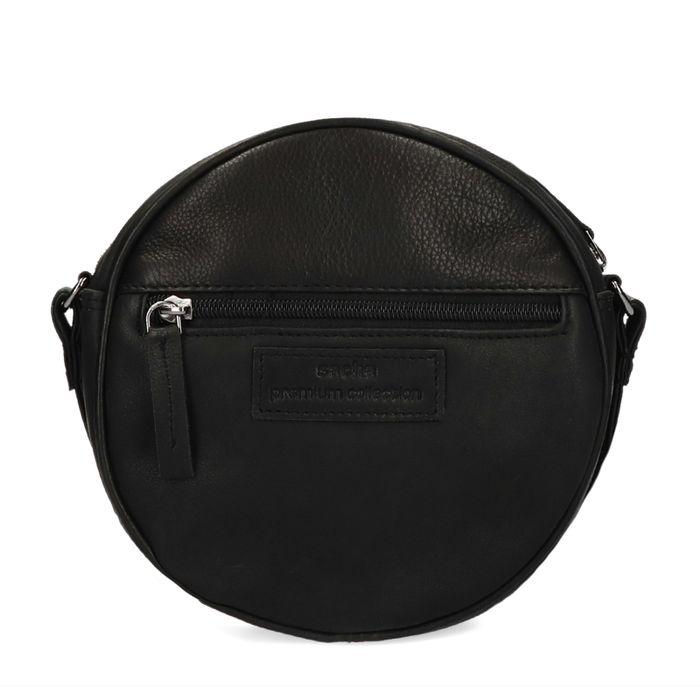 Ronde zwarte schoudertas met ponyhair