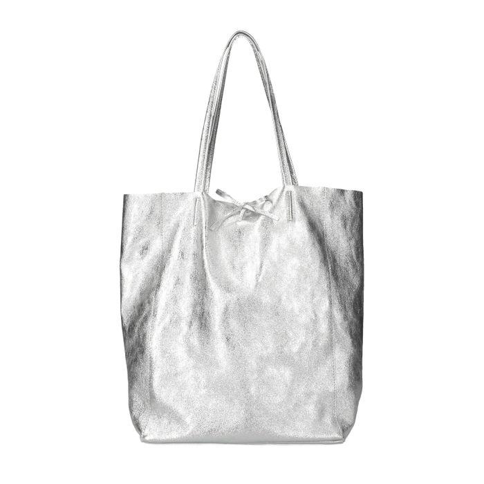 Metallic zilveren shopper