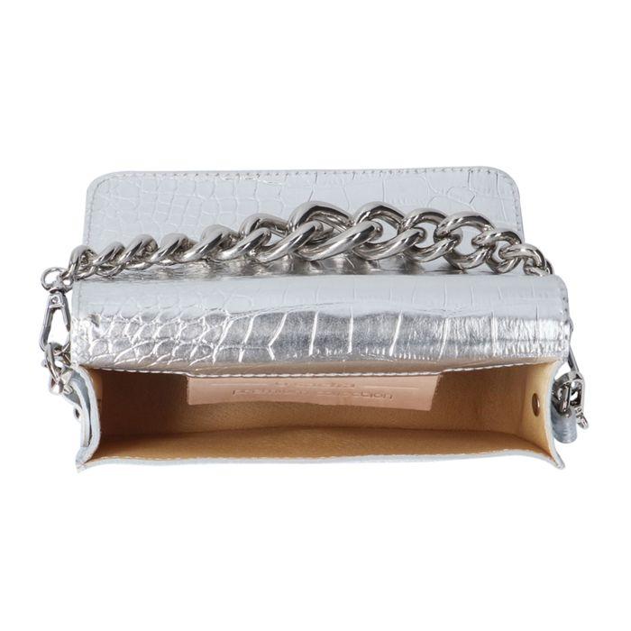 Zilverkleurige croco tas met hengsel