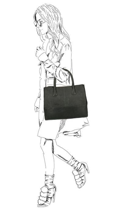 Zwarte leren handtas met snakeskin