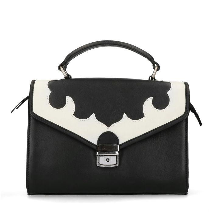 Zwarte schoudertas met witte details