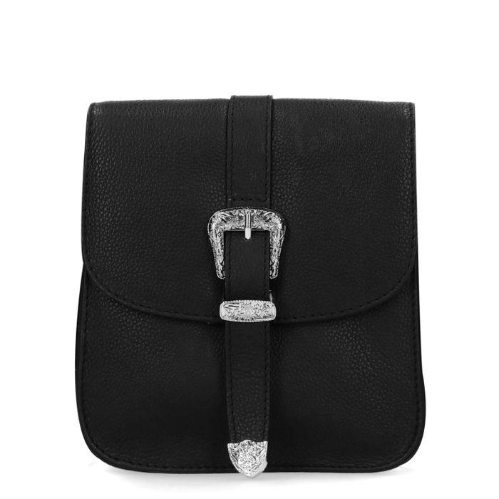 Zwarte leren schoudertas met western details
