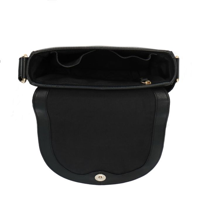 Zwarte leren saddle bag