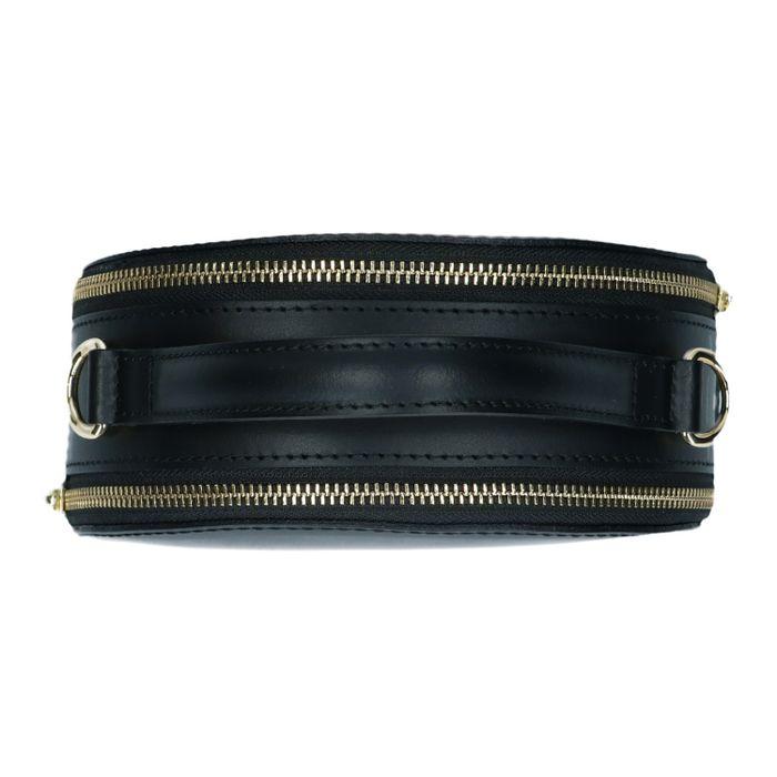 Ronde zwarte tas met gouden ritsjes