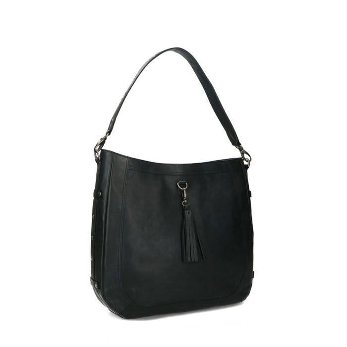 Zwarte leren handtas met details
