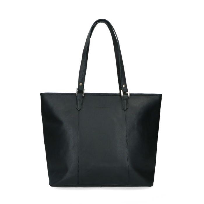 Zwarte handtas met zilveren details