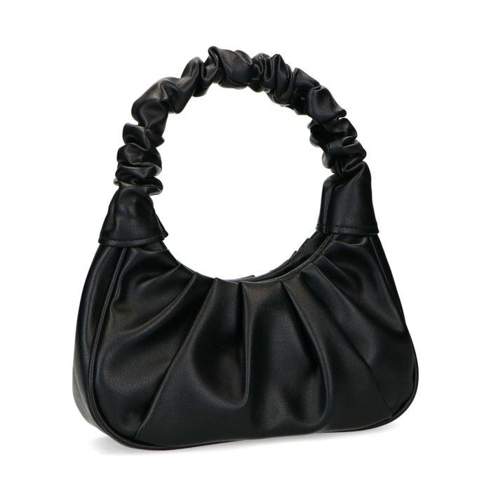 Zwarte leren handtas met geplooide details
