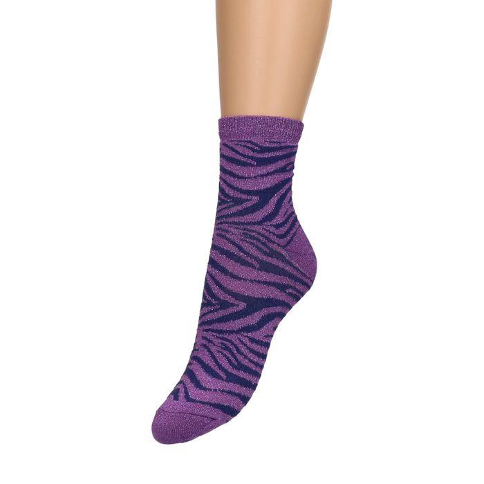 Paarse glitter sokken met zebraprint