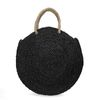 Zwarte ronde rieten tas ata gras