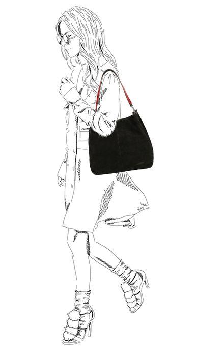 Zwarte shopper met detail
