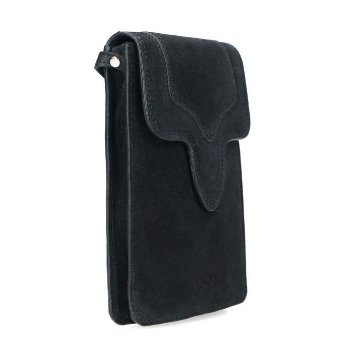 Zwart suède schoudertasje
