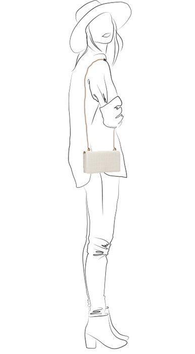 Latte schoudertasje met snakeskin