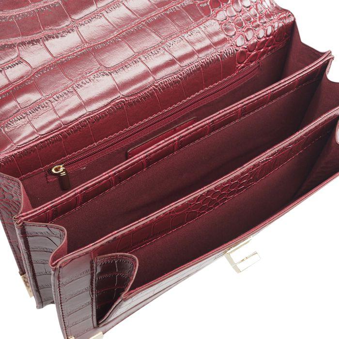 Rode schoudertas met snakeskin print