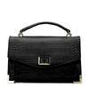 Zwarte handtas met crocoprint