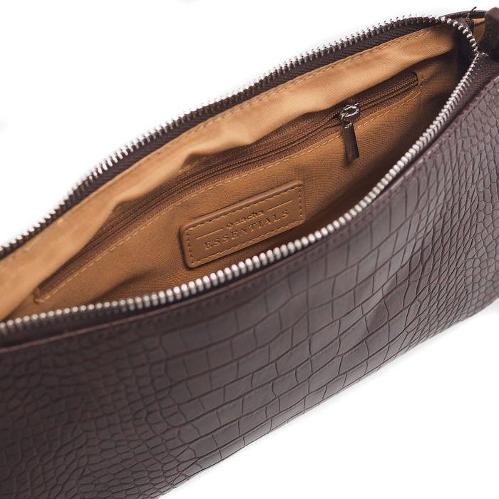 Bruine tas met crocoprint