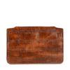 Cognac portemonnee met crocoprint