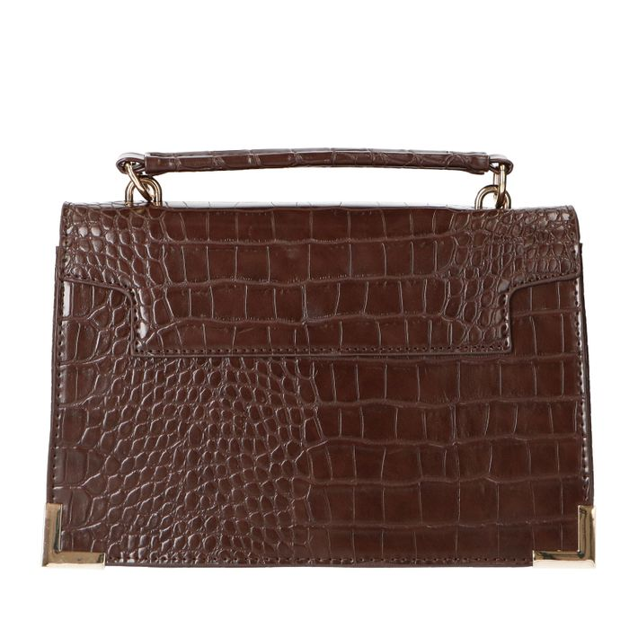 Donkerbruine city bag met crocoprint